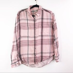 Mudd Multi Pink Hi Low Button Up Plaid Pocket Top